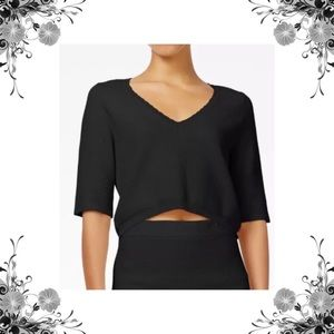 {RACHEL Rachel Roy} Black Knit V-Neck Crop Top